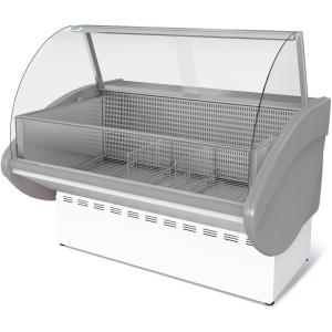 Витрина морозильная напольная, горизонтальная, L1.20м, -18С, стат.охл., без щитков, стекло фронтальное гнутое