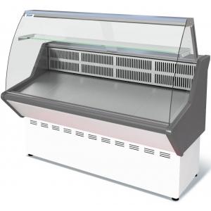 Витрина холодильная напольная, горизонтальная, универсальная, L1.17м, 1 полка, -5/+5С, стат.охл., без щитков, стекло фронтальное гнутое