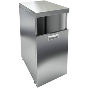 Модуль барный нейтральный для мусорного бака,  400х600х850мм, без борта, 1 секция выдв., ножки, нерж.сталь