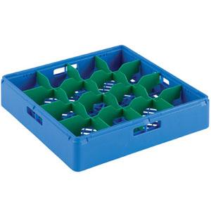 Корзина посудомоечная для стаканов, 500х500мм, пластик синий, вместимость 16 стаканов Н70мм