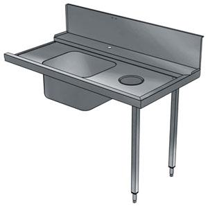 Стол входной для машин посудомоечных конвейерных, L1.40м, 1 борт, 2 ножки, мойка 500х400х300мм, правый, нерж.сталь, отв.для отходов