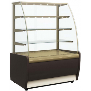 Витрина холодильная напольная, горизонтальная, L0.92м, 3 полки, +6/+12С, дин.охл., коричневая+золото, стекло фронтальное гнутое, подсветка