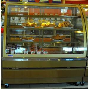 Витрина нейтральная напольная, горизонтальная, L1.00м, 3 полки, золотая, стекло фронтальное гнутое, колёса