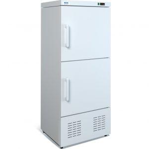 Шкаф комбинированный,  400л, 2 двери глухие, 4 полки, ножки, 0/+7С и -13С, стат.охл., белый, агрегат нижний