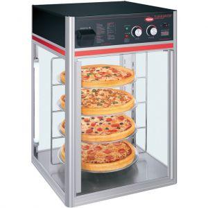Витрина тепловая настольная, вертикальная, для пиццы, L0.57м, 4 полки, стекло с 3-х сторон, 1 дверь стекло, серая+черная, пароувлажнение