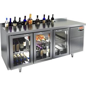 Модуль барный холодильный, 1835х700х850мм, борт, 3 двери стекло, карман для бутылок, ножки, +2/+10С, нерж.сталь, дин.охл., агрегат справа