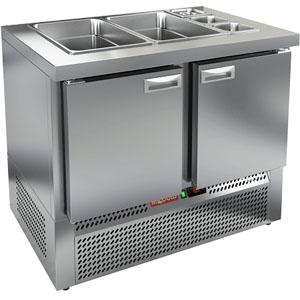 Стол холодильный саладетта, GN1/1, L1.00м, без борта, 2 двери глухие, ножки, +2/+10С, нерж.сталь, дин.охл., агрегат нижний, гнездо GN1/3+GN1/1, без кр