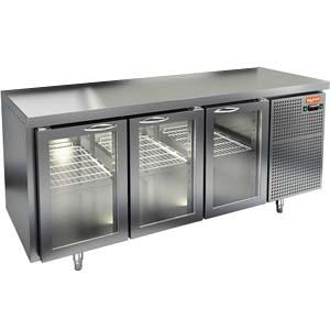 Стол холодильный, GN2/3, L1.84м, без борта, 3 двери стекло, ножки, -2/+10С, нерж.сталь, дин.охл., агрегат справа