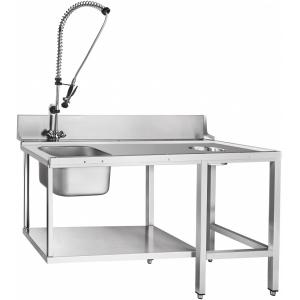 Стол входной для машин посудомоечных МПК, L1.51м, 1 борт, 1 полка сплошная, 4 ножки, мойка 400х400х250мм, универсальный, душ-стойка, отв.для отходов