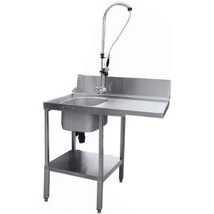 Стол входной для машины посудомоечной МПК-500Ф, L1.16м, 1 борт, 1 полка сплошная, 4 ножки, мойка 400х400х250мм, левый, нерж.сталь, душ-стойка
