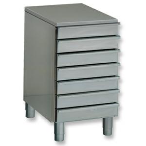 Модуль нейтральный для столов для пиццы, EN, без борта, 7 ящиков, ножки, нерж.сталь