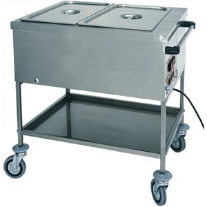 Мармит электрический, 2 ванны 1GN1/1, стенд открытый, 1 полка сплошная, нерж.сталь, передвижной, нагрев «парового» типа