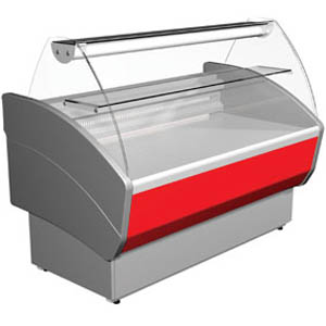 Витрина холодильная напольная, горизонтальная, L1.18м, 1 полка, 0/+7С, стат.охл., серая+красная, стекло фронтальное гнутое