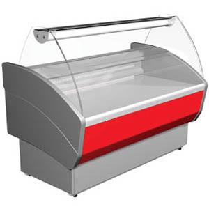Витрина морозильная напольная, горизонтальная, L1.48м, -13С, стат.охл., серая+красный, стекло фронтальное гнутое
