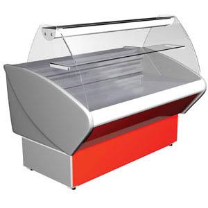 Витрина холодильная напольная, горизонтальная, L1.18м, 1 полка, 0/+7С, стат.охл., серая+красный, стекло фронтальное гнутое, подсветка