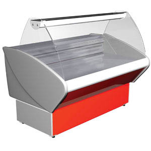 Витрина морозильная напольная, горизонтальная, L1.48м, -18С, стат.охл., серая+красный, стекло фронтальное гнутое
