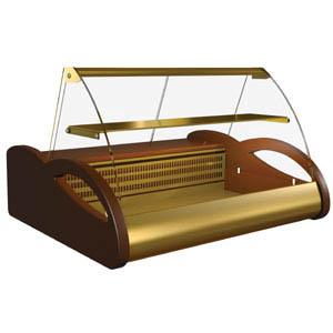 Витрина холодильная настольная, горизонтальная, L1.50м, 1 полка, 0/-6С, стат.охл., шоколадно-золотистая, стекло фронтальное гнутое, подсветка