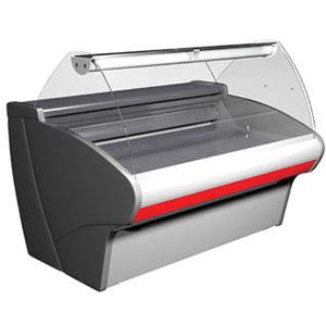 Витрина холодильная напольная, горизонтальная, L1.33м, 0/+7С, стат.охл., серая+красная, стекло фронтальное гнутое, подсветка