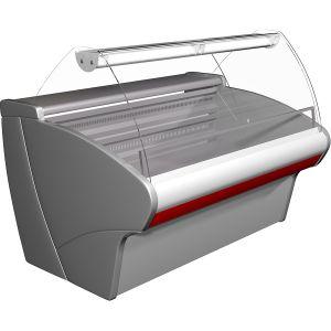 Витрина морозильная напольная, горизонтальная, L1.50м, -18С, стат.охл., серая+красная, стекло фронтальное гнутое, подсветка