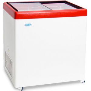 Ларь морозильный, 236л, стеклянная плоская раздвижная крышка, 2 корзины, отделка красная