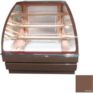 Витрина нейтральная напольная, угловая, кондитерская, L1.25м, 3 полки, бежево-коричневая, 45 град. внешний, стекло фронтальное гнутое