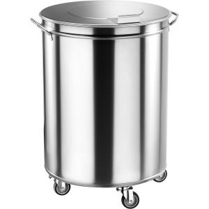 Бак для пищевых отходов передвижной,  460х460х700мм, 100л, нерж.сталь, крышка, ручки