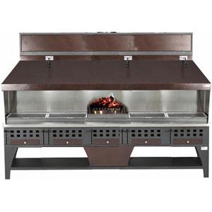 Гриль на углях, 4 решетки 500х420мм, подставка открытая, отделка коричневая, зольник, жаровня, зонт вытяжной