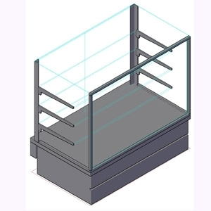Витрина холодильная напольная, горизонтальная, кондитерская, L1.00м, 2 полки, 0/+8С, дин.охл., металлик-хром (сер.), стекло фронтальное прямое