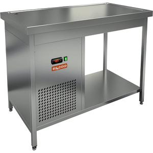 Стол холодильный, 1100х600х850мм, без борта, открытый, ножки, +2/+7С, нерж.сталь, агрегат левый, столешница охлаждаемая