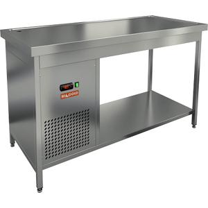 Стол холодильный, 1400х600х850мм, без борта, открытый, ножки, +2/+7С, нерж.сталь, агрегат левый, столешница охлаждаемая