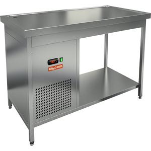Стол холодильный, 1200х700х850мм, без борта, открытый, ножки, +2/+7С, нерж.сталь, агрегат левый, столешница охлаждаемая