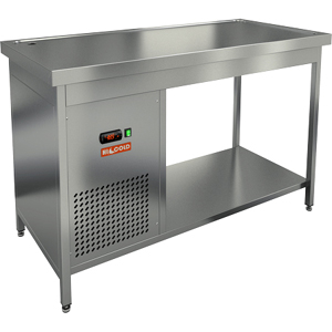 Стол холодильный, 1300х700х850мм, без борта, открытый, ножки, +2/+7С, нерж.сталь, агрегат левый, столешница охлаждаемая