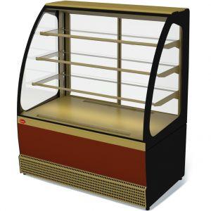 Витрина холодильная напольная, горизонтальная, кондитерская, L1.31м, 3 полки, 0/+7С, дин.охл., золотисто-черная, стекло фронтальное гнутое