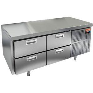 Стол холодильный низкий, GN1/1, L1.39м, без борта, 4 ящика, ножки, -2/+10С, нерж.сталь, дин.охл., агрегат справа