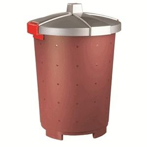 Бак 65л D 47см h 66см для пищевых продуктов и отходов с крышкой, полипропилен бордовый