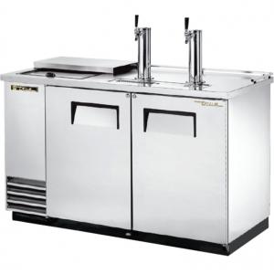 Стол холодильный для кег и розлива пива, L1.50м, без борта, 2 двери глухие, +1/+3С, нерж.сталь, дин.охл., агрегат левый, 2 кеги по 60л, 2 крана, ларь