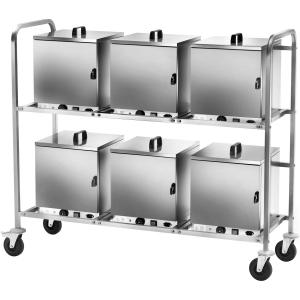 Стеллаж передвижной для хранения тепловых шкафов, 6хCST300, каркас нерж.сталь