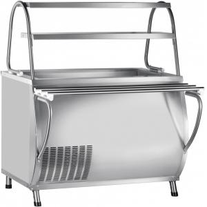Прилавок холодильный, L1.12м, ванна охлаждаемая +1/+10С, стенд полузакрытый без двери, нерж.сталь, 2 полки сплошные, направляющие