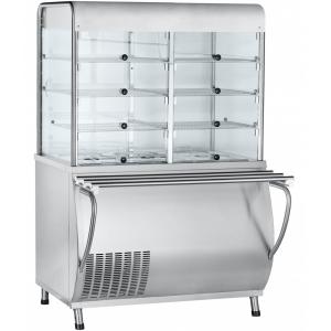 Прилавок-витрина холодильный, L1.12м, ванна охлаждаемая +5/+15С, стенд полузакрытый без двери, нерж.сталь, направляющие