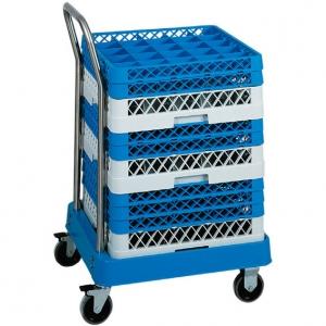 Тележка для корзин посудомоечных 500х500мм, нерж.сталь, ручка, основание пластик ABS