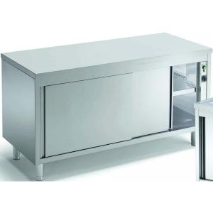 Стол тепловой раздаточный, 1000х700х850мм, без борта, закрытый, двери-купе, нерж.сталь, край прямой, сквозной