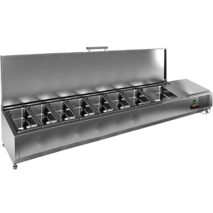 Витрина холодильная настольная, горизонтальная, для топпингов, L1.84м, 7GN1/3+1GN1/2, +2/+7С, стат.охл., крышка нерж.сталь, ножки