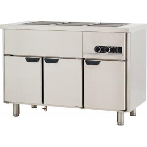 Мармит электрический для вторых блюд, L1.26м, без борта, 3GN1/1, нагрев паровой, шкаф тепловой, нерж.сталь, ножки 140мм