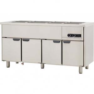 Мармит электрический для вторых блюд, L1.66м, без борта, 4GN1/1, нагрев паровой, шкаф тепловой, нерж.сталь, ножки 140мм