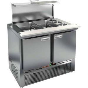 Стол холодильный саладетта, GN1/1, L1.00м, без борта, 2 двери глухие, ножки, +2/+10С, нерж.сталь, дин.охл., агрегат нижний, гнездо GN1/6+GN1/1, крышка
