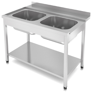 СПМВ2-120/7Л - стол предмоечный, 2 мойки, левый, борт