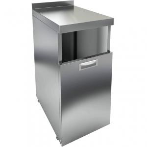 Модуль барный нейтральный для мусорного бака,  400х700х850мм, борт, 1 секция выдв., ножки, нерж.сталь