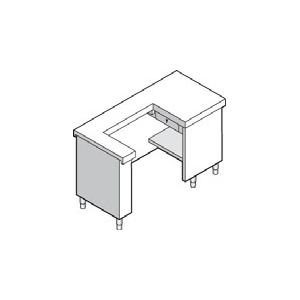 Прилавок кассовый, L1.50м, правый, нерж.сталь, 1 выдв.ящик, розетка