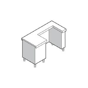 Прилавок кассовый, L1.50м, левый, нерж.сталь, 1 выдв.ящик, розетка
