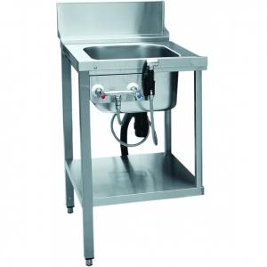 Стол входной для машин посудомоечных МПК, L0.56м, 1 борт, 1 полка сплошная, 2 ножки, мойка 400х400х250мм, универсальный, душ